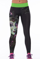 Front - Banshee print stretch yoga pants