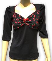 Black sweet cherry red bow fashion