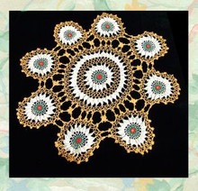 Colorful crocheted cotton doily