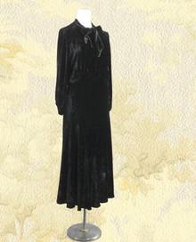 1930s Black silk velvet gown