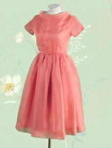 Cute 1950s pink silk organdy dress