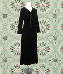 Black 1970s velvet pirate dress