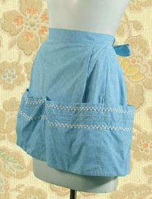 Blue microcheck gingham apron