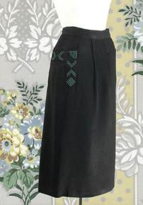 1950s black polished rayon skirt