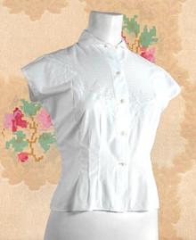 1950s white cotton blouse