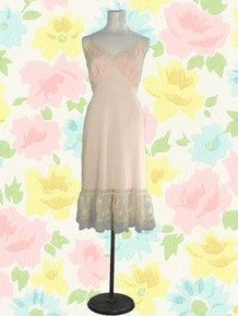 1950s Nylon tricot pale pink full slip