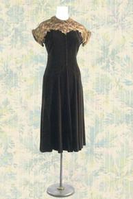 1940s Chocolate velvet cocktail dress