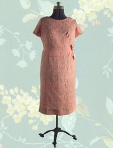 1950s Lace over taffeta dinner dress