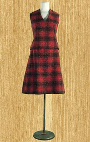 1960s plaid wool tweed vest & skirt set