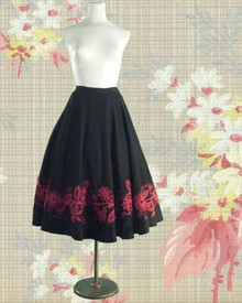 1940s Wool full circle skirt with applique