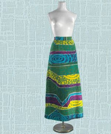 1960s cotton barkcloth Hawaiian skirt