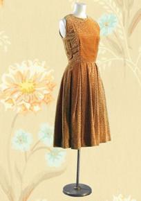 1950s sleeveless velvet evening dress
