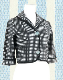 Black and white checked cotton jacket