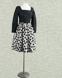 Black and white polka dot silk dress