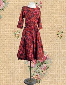 1950s red floral cotton bubble dress