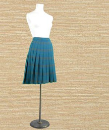 1950s blue wool plaid skirt