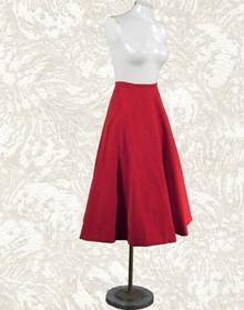 1940s red velvet circle skirt