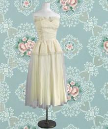Ivory 1950s satin tulle dress