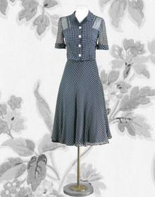 Lovely 1940s navy and white dress