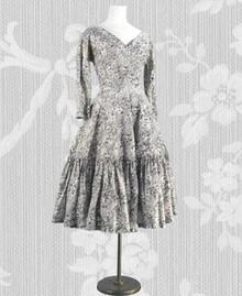Print silk 1950s day dress