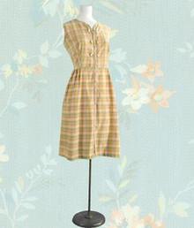 1950s plaid gold, green, pink,cotton sun dress