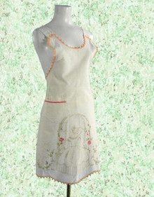 1930s hand embroidered full apron