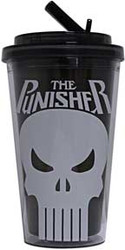 Punisher | Skull | 16oz Plastic Flip Straw | Cold Cup