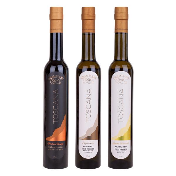 Toscana Grampians Olive Co balsamic vinegar, organic olive oil, lemon pressed olive oil
