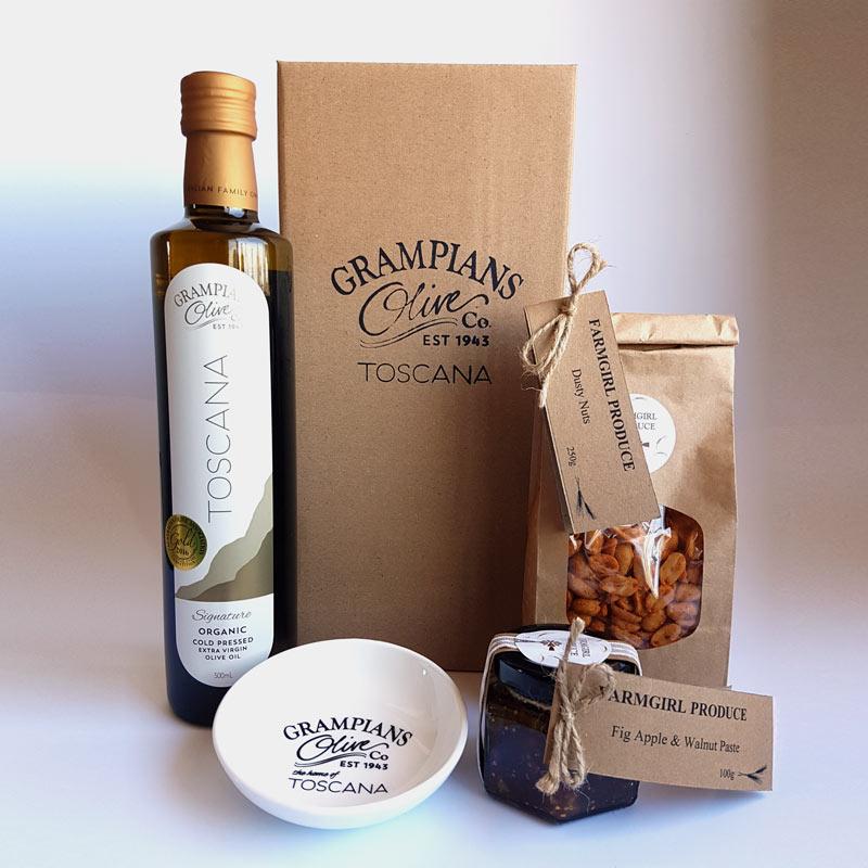 Farmgirl hamper - olive oil, nuts, paste.