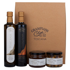 Hamper of organic olives, olive oil and honey
