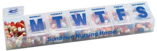 Imprinted 7 Day One time a day pillbox organizer