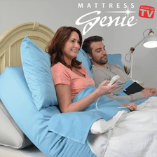 Mattress Genie allows you to adjust the elevation of bed for a more comfortable nights sleep. Mattress Genie Inflatable Bed Wedge - Special offer 2 Free Temperature Control Pillow Cases with Your Purchase Today!