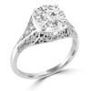 14K White Gold Vintage Inspired Engagement Ring - Leva Style