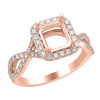 14K Rose Gold Emerald Halo Diamond Engagement Ring - Athena Style