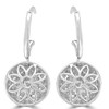 18K White Gold, Dangle Style Earrings with Pave Set Diamonds