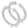14K White Gold Diamond Hoop Style Earrings