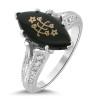 14k White Gold Marquis Onyx Vintage Inspired Baha'i Ringstone
