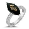 14k White Gold Marquis Onyx Classic Diamond Baha'i Ringstone