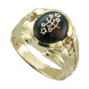 14K Yellow Gold Gents Diamond Brown/Red Cabochon Baha'i Ringstone