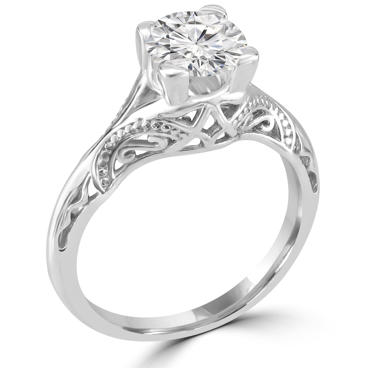 14k white gold vintage inspired engagement ring nagameh style - Vintage Inspired Wedding Rings