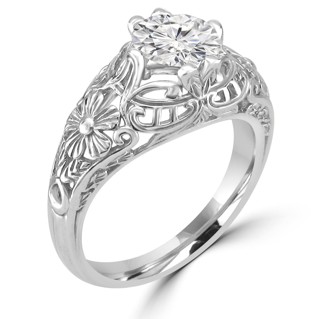 14k white gold vintage inspired engagement ring shirin style - Vintage Inspired Wedding Rings