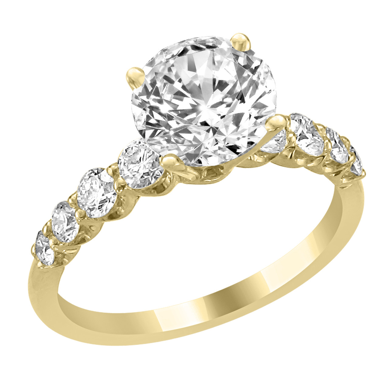 14K Yellow Gold Engagement Ring with Diamond Side Accent Judy
