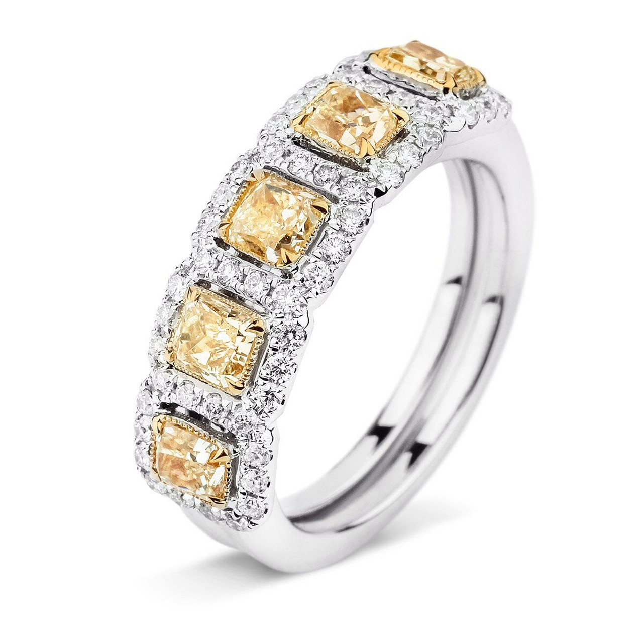 18kt White And Yellow Gold 5 Stone Diamond Halo Band