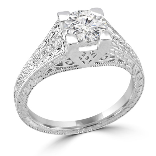 14K White Gold Vintage Inspired Engagement Ring - Sandra Style