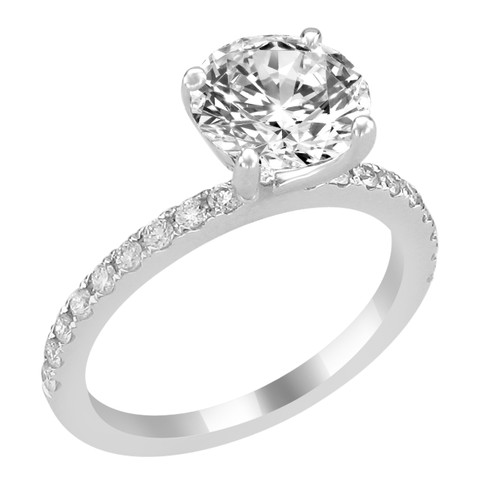 14K White Gold Engagement Ring with Bead Set Diamond Side Accent - Barbara Style