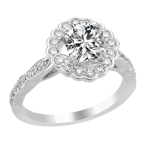 14K White Gold Cushion Halo Diamond Engagement Ring - Eros Style