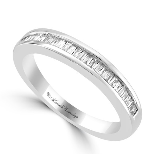 Womens unique design wedding bands 14k white gold channel set tapered baguette diamond wedding band junglespirit Image collections