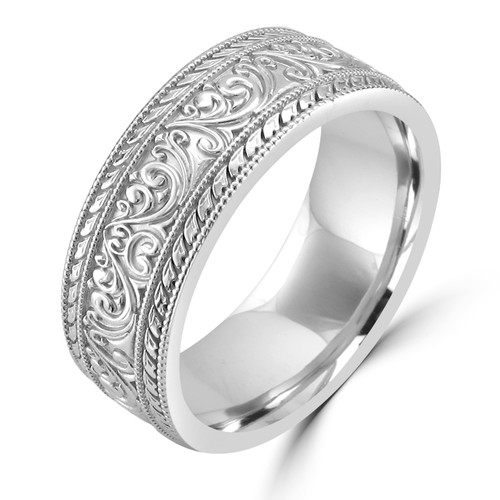 14K White Gold Unique Art Nouveau Carved Wedding Band