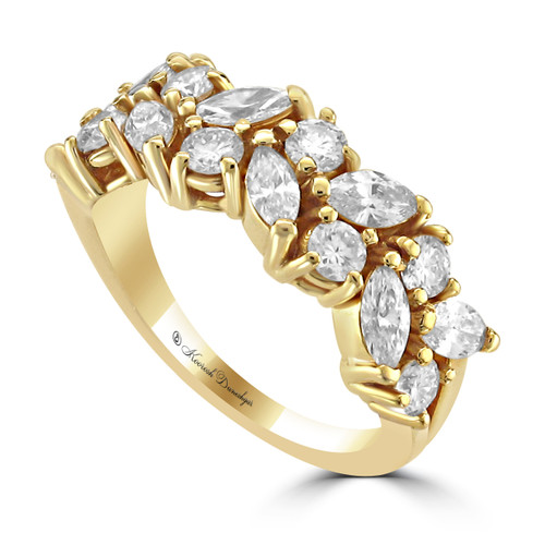 14K Yellow Gold Wedding Band With Round And Marquise Cut Diamonds