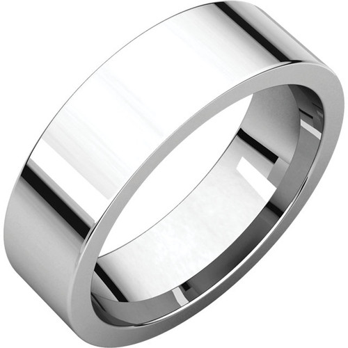 Comfort-Fit Flat Style Wedding Band with a High Polish Finish in a 6mm Width